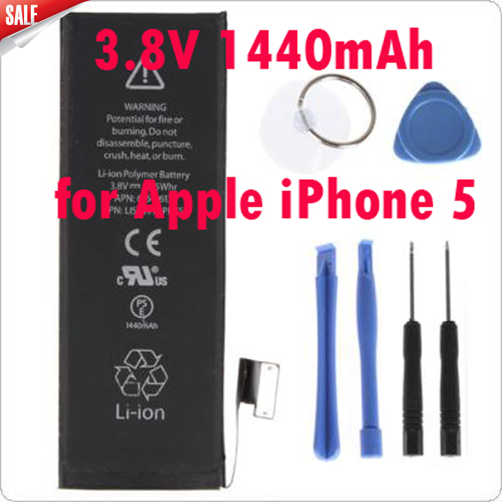 все цены на Newest Genuine Replacement Battery 3.8V 1440mAh Brand New Inner built-in Li-ion Battery for Apple iPhone 5 + Kit Tools онлайн