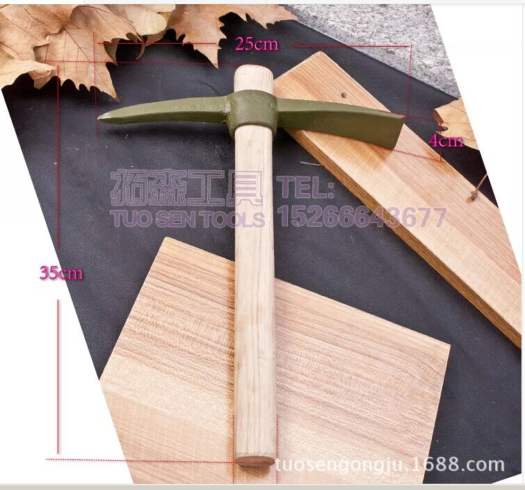 400 Grams Of Small Wooden Handle Small Pickaxe Pick Pickaxe Digging Bamboo Shoots Vegetable Gardening Hoe