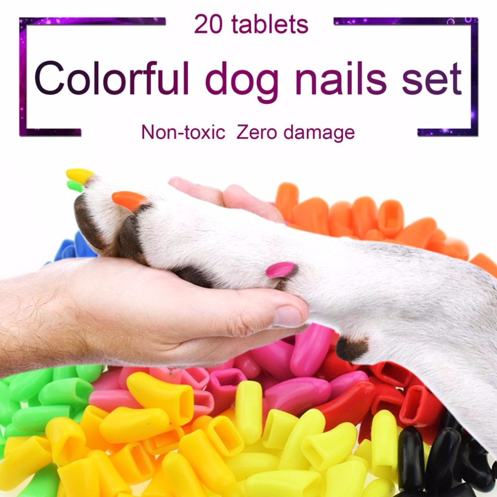 20pcs Dog Anti-scratch Nail Caps Soft Silicone Paw Nail Cover Nail Protector Set Puppy Claw Protective Tools Dog Supplies