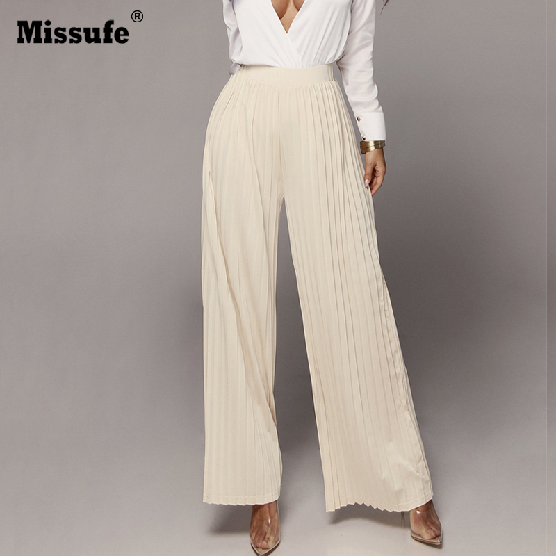 Missufe High Waist   Wide     Leg     Pants   For Women Pleated Casual Loose Elegant Office Ladies Trousers 2018