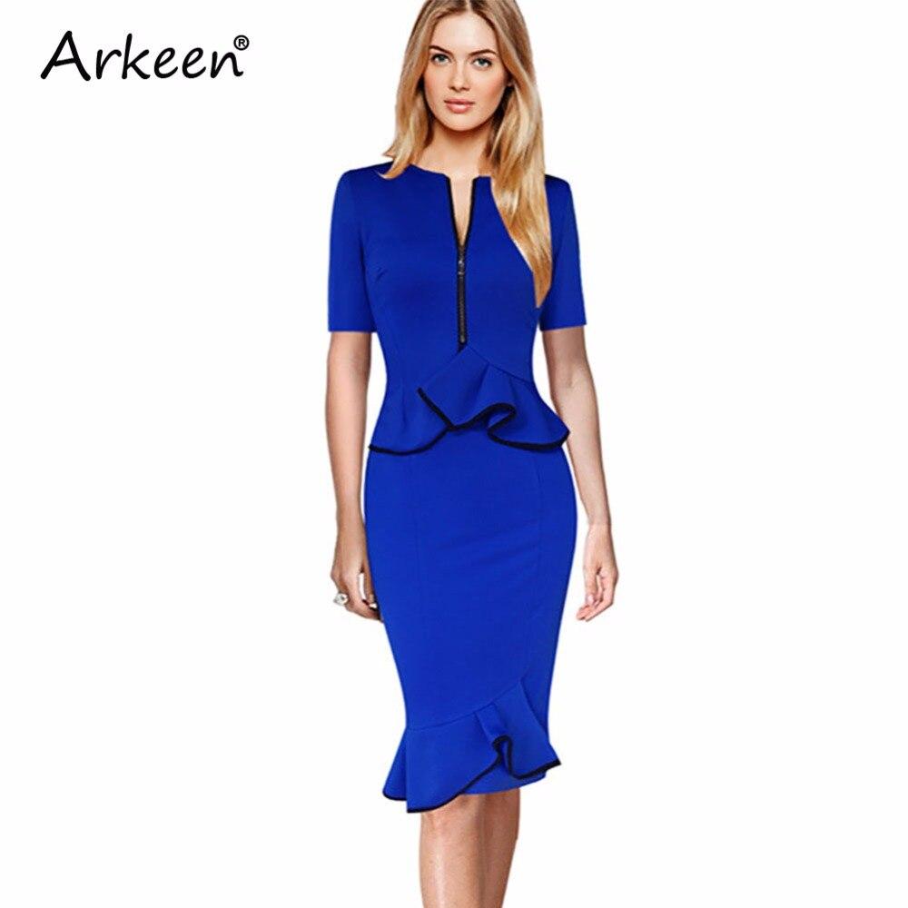 Arkeen 2017 Fake Designer Zipper Two 2 Piece Mermaid Midi Dress Us Formal Party Kleider Elegant