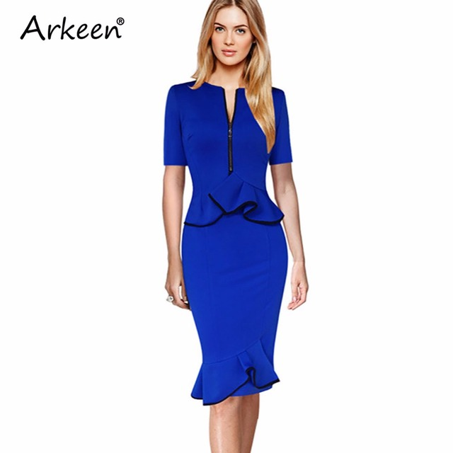 Arkeen 2017 Fake Designer Zipper Two 2 Piece Mermaid Midi Dress Us ...