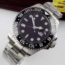 лучшая цена 43mm Bliger Black Dial GMT Sapphire Glass ceramic bezel Luminous Marks Date Deployment clasp Automatic Movement Men's Watch