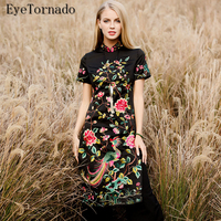 High End Plus Size 2017 Women Spring Summer Chinese Style Vintage Flower Bird Embroidery Long Casual