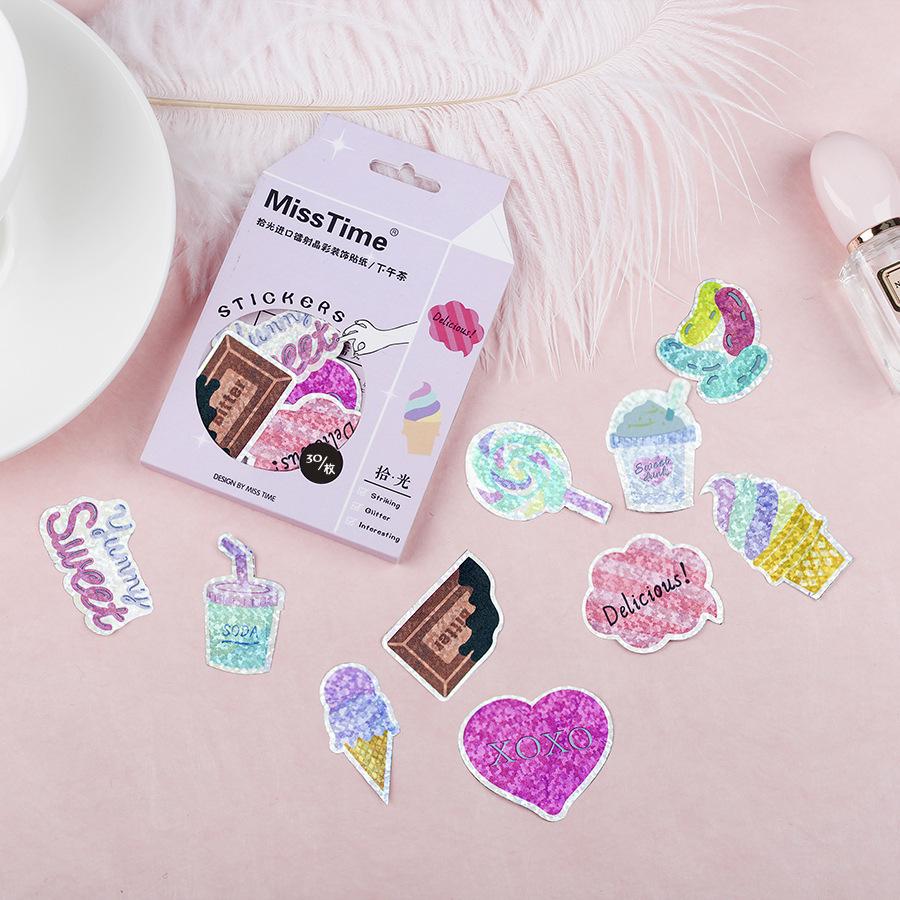 30PCS New Laser Paper Afternoon Tea Diary Paper Lable Stickers Crafts And Scrapbooking Decorative Lifelog Sticker DIY Stationery