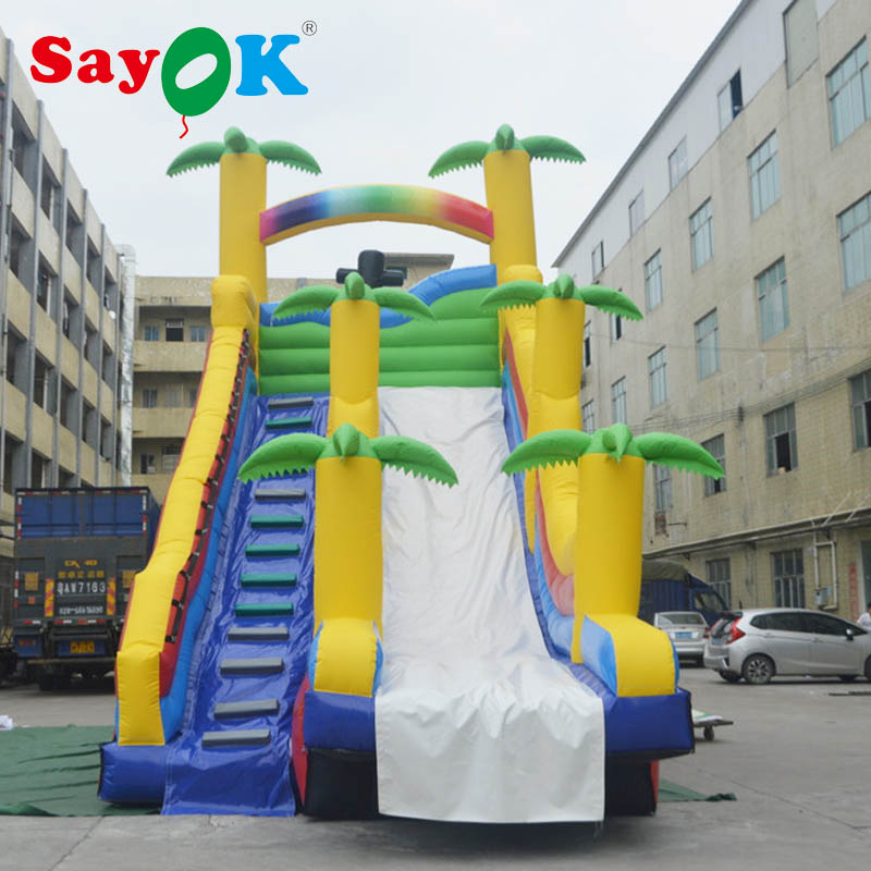 8x4x8m PVC High Quality Giant Inflatable Bounce Slide Inflatable Coconut Tree Slide for Kids with Two Air Blower8x4x8m PVC High Quality Giant Inflatable Bounce Slide Inflatable Coconut Tree Slide for Kids with Two Air Blower