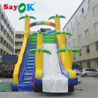 8x4x8m PVC High Quality Giant Inflatable Bounce Slide Inflatable Coconut Tree Slide for Kids with Two Air Blower