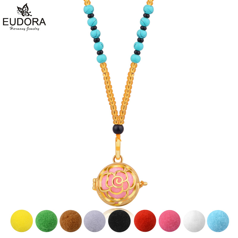 Eudora Rose Flower Harmony Bola Cage Pendant Jewelry Perfume Diffuser Aromatherapy Essential Oils Locket Pendant Necklace