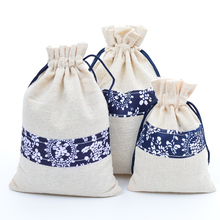 Handmade Chinese Style Cotton and Line Drawstring packaging Gift Pouches Bags 50pcs For Activated Carbon Wedding favor Christmas