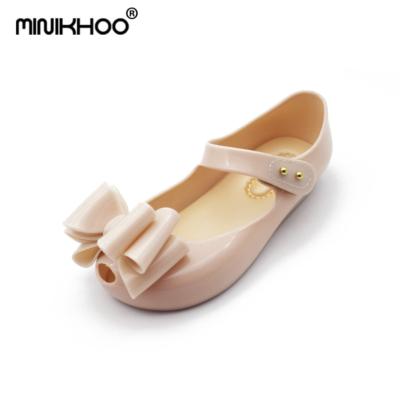 Mini Melissa 2018 New Three Big Bow Girls Sandals Jelly Princess Shoes Soft Shoes High Quality Tricolor Children Sandals