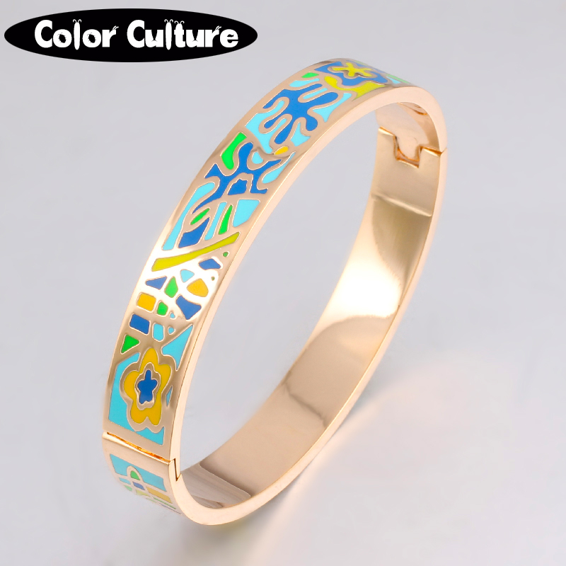 New Fine Jewelry Color Design Pattern Gold Opening Enamel Bracelet Bangle for Women Stainless Steel Bangles Ethnic Jewelry