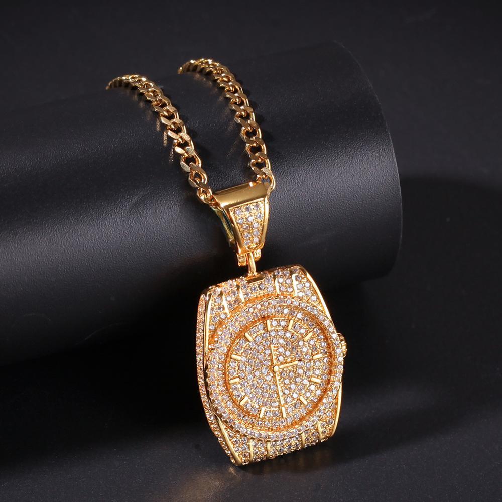Personnalisé zircon cadran pendentif montre horloge hip hop pendentif glace out hommes hip hop collier cadeau