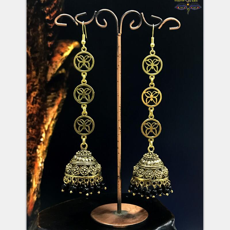 Original Handmade Handmade Folk Earrings In India Golden Cage Retro Earrings Golden Jewelry of Women In India Thailand Egypt khul in egypt