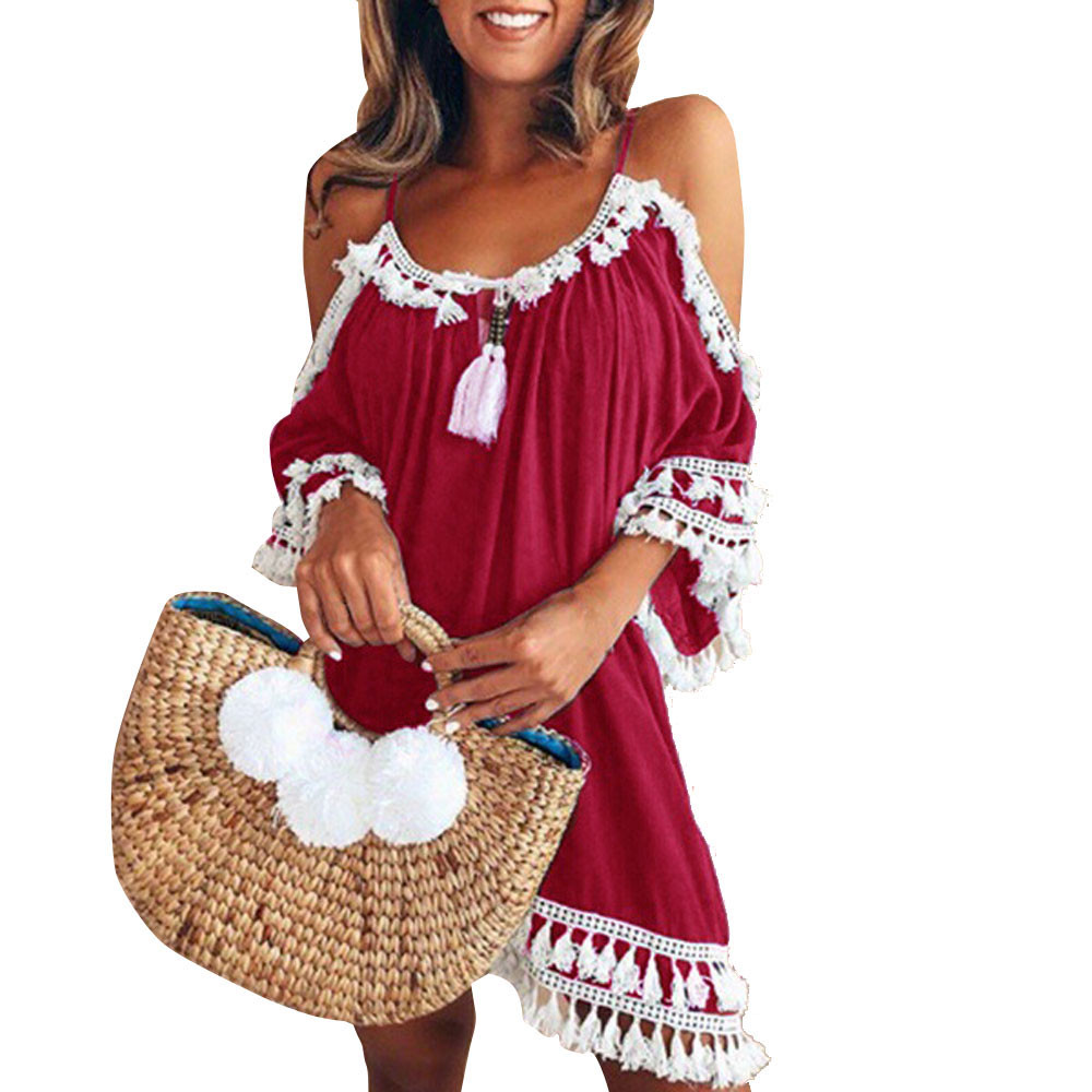 ALI shop ...  ... 32971047007 ... 3 ... 2019 Women casual Dress Women Off Shoulder sexy Dress Tassel Short Cocktail Party Beach Dresses Sling Sundress Vestidos #YL ...