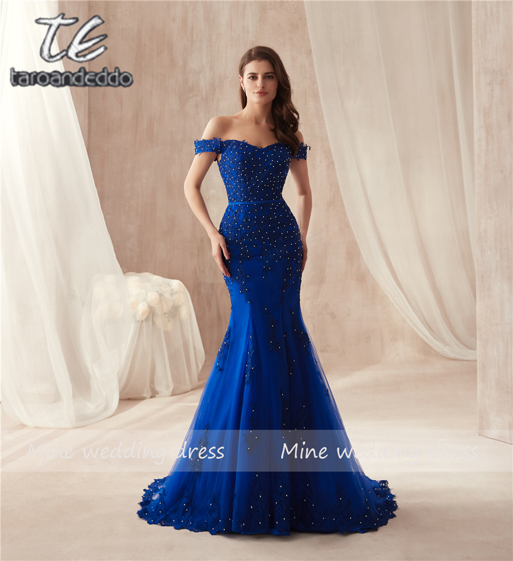 Off the Shoulder Royal Blue Mermaid Slim   Prom     Dress   Lace Applique with Pearls Beading Sexy Long Evening   Dress   Party   Dress