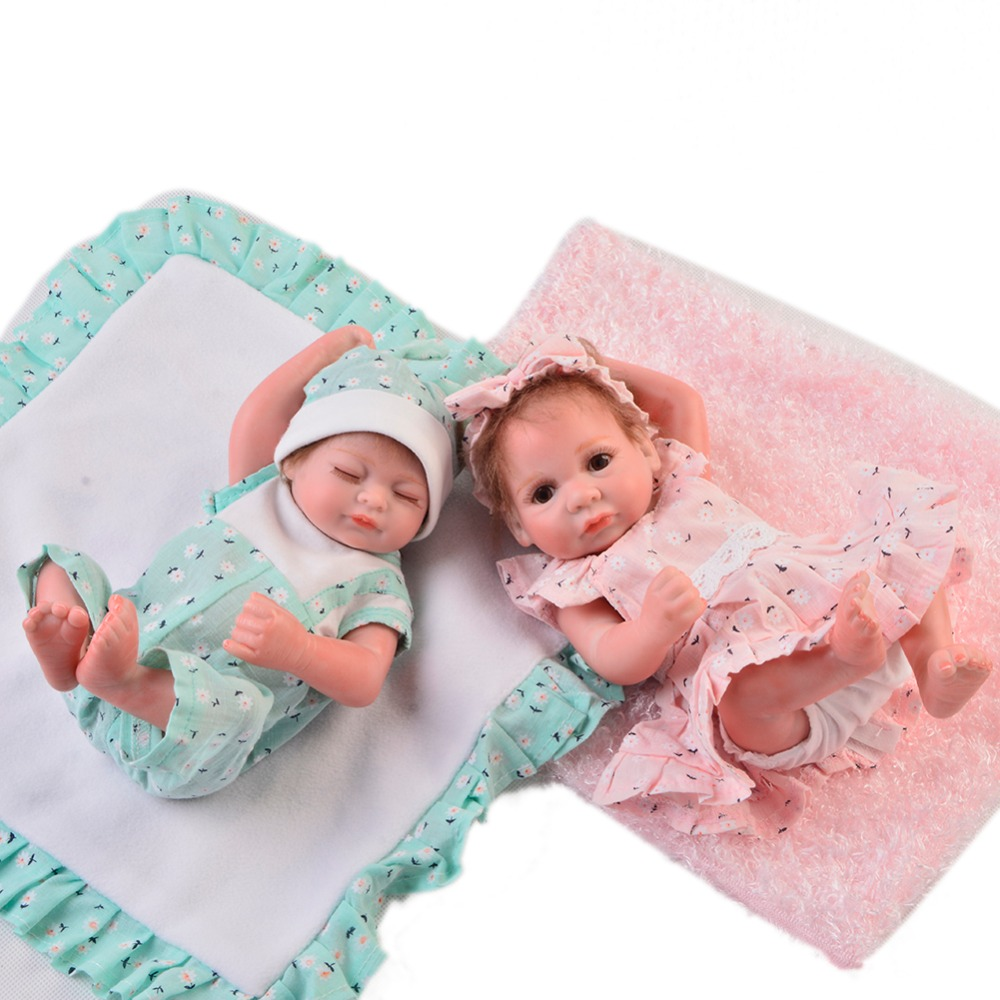 Wholesale 11 Inch Mini Doll Reborn Babies Full Silicone Vinyl Body Newborn Dolls Realistic Baby Toys Children Birthday Gifts