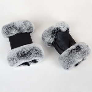Image 4 - חורף אופנה שחור חצי אצבע כפפות עור אמיתי כבשים עור ארנב פרווה חצי אצבע ללא אצבעות כפפות ארנב פרווה פה