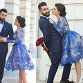 2016 Elegante Ropa de Mujer Vestido vestidos Azul de Encaje Rodilla Longitud de Bola Vestido Corto de Baile Vestidos Más El Tamaño 2-24 W S1202
