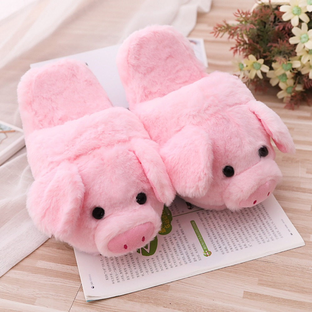26/40cm Cute Pink Pig Plush Toys & Indoor Warm Winter Adult Stuffed Cartoon Kawaii Shoes Lovely Pillow For Girls Valentine Gifts