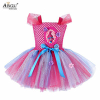 1 15Y Troll Poppy Tutu Dress Baby Girl Tulle Princess Dress Kids Christmas Cosplay Costume Girl Birthday Party Cartoon Dress