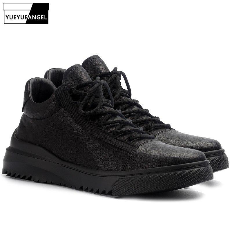 Homme décontracté chaussures en cuir de haute qualité bout rond à lacets chaussures en cuir véritable marque de luxe hommes printemps mode doux noir chaussures