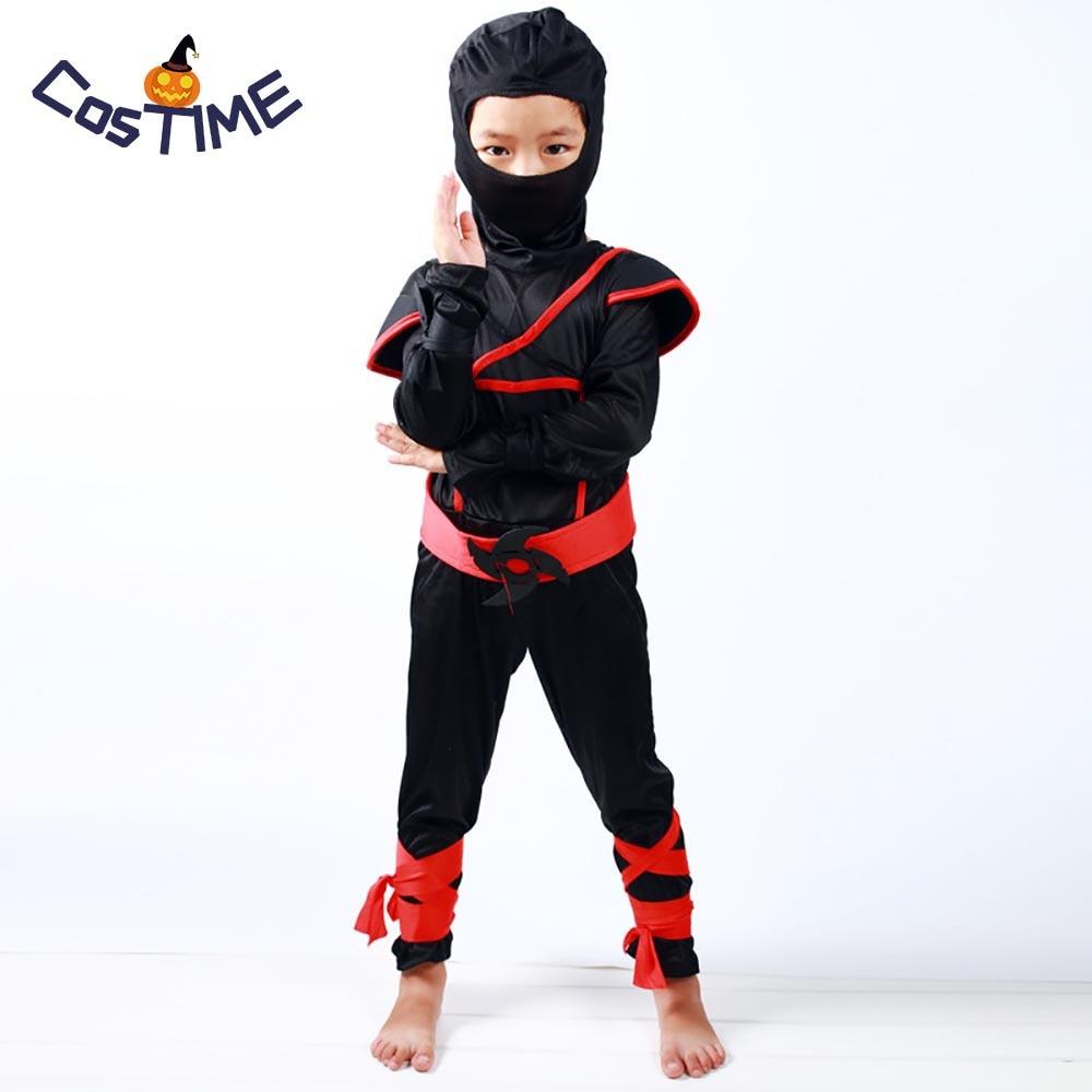 Kids Stealth Ninja Costume Cool Boys Masked Ninja Assassin Costume Warrior Children Fancy Dress Carnival Costumes for Kids S-XL