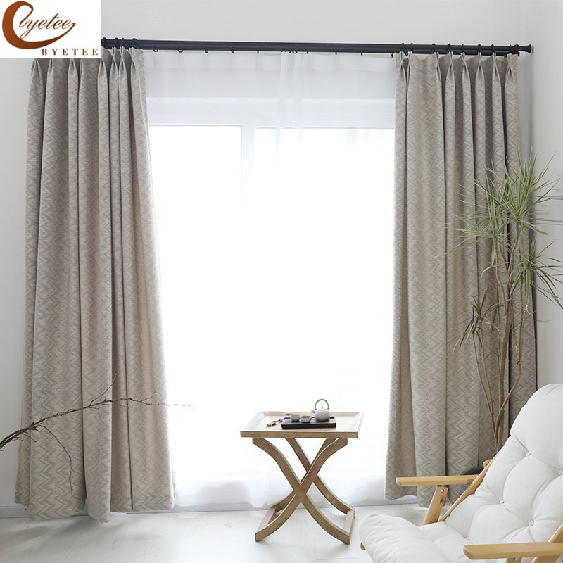 [byetee] Jacquard Cotton Linen Fabric Modern Curtain Kitchen Curtains Doors For Living Room