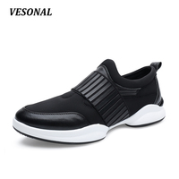 VESONAL Genuine Leather Lycra Patchwork Striped Slip On Mens Shoes Casual Breathable Men Shoes Outdoor Walking Black SD7079