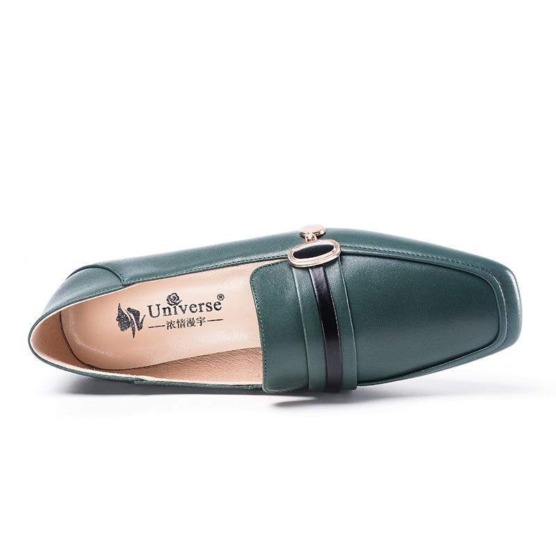 Universe Real Leather Vrouwen Platte Schoenen Loafers Vierkante Teen Vrouwen Platte Schoen Zapatos Mujer Slip op Casual 2 cm handgemaakte Zwarte J072-in Platte damesschoenen van Schoenen op  Groep 3