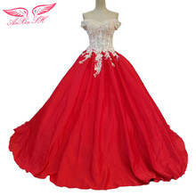 AnXin SH Lace White Rose Princess Red Bow Wedding Dress