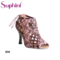 2019 Suphini Dance Boots Upper Pink Snake Print Style Salsa Open Toe Sandals Latin Ballroom Shoes reticulation dance boots