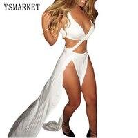 New Celebrity Cropped Deep V Neck Long Dress Women Sexy Two Side High Slit Maxi Dress