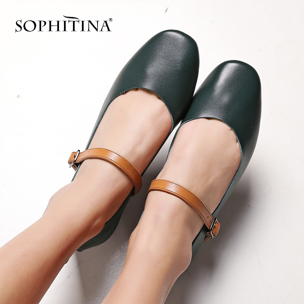 SOPHITINA 2019 Spring New Genuine Leather Mary Jane Shoes Soft and Comfortable Fashion Buckle Consice Elegant