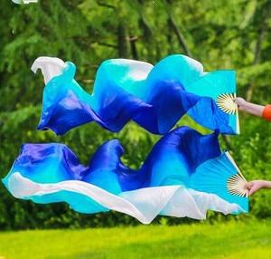 Image 4 - Yeni varış sıcak satış gökkuşağı oryantal dans ipek yelpaze Veils el boyası canlı işık Fan peçe çift degrade 120cm 180cm profesyonel
