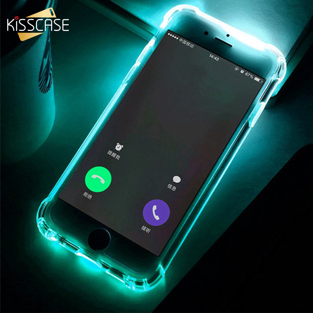 newest 9c6b6 1fbf1 KISSCASE Call LED Light Case For iPhone 5 5s SE 6 6s Flash Silicone Cover  For iPhone 6 6s 7 X 8 Plus Anti-knock Back Soft Fundas
