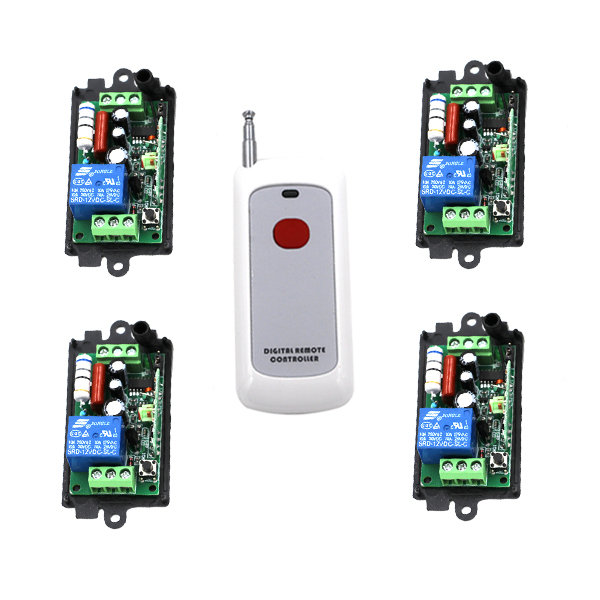 New 220V 1CH Wireless Power Switch System 4 Receiver + 1Transmitter Remote Controller 10A Relay new restaurant equipment wireless buzzer calling system 25pcs table bell with 4 waiter pager receiver