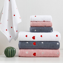 New arrived 100 Organic cotton towel set white grey pink beach towel Face towel 2pcs set Peach heart home soft swimming towel cheap 15s-20s Machine Washable Compressed Embroidered Jacquard Woven 0 62kgs Yovepii BH0018 retrangle Towel set 1pc shower towel 1pc Face towel