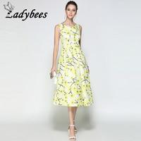 LADYBEES Women Floral Print Dresses Pleated Long Boho Elegant Casual Vintage Maxi Dress Yellow Blue Flower