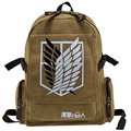 Hot selling canvas cartoon Investigation Corps dollar price teenagers attack on titan side zip pocket mochila school backpack
