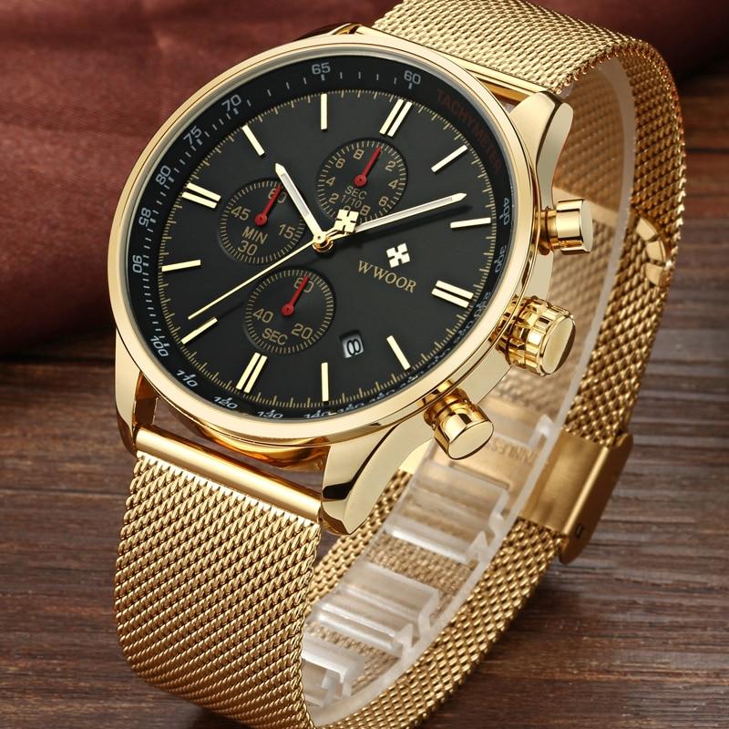 WWOOR Top Brand Luxury Mens Watches Business Chronograph Waterproof Gold Stainless Steel Sport Men Quartz Wrist Watch Male Clock