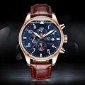2016 carnival famosa marca suíça de relógios de luxo homens relógio mecânico automático relógio subiu caso de ouro mostrador azul pulseira de couro