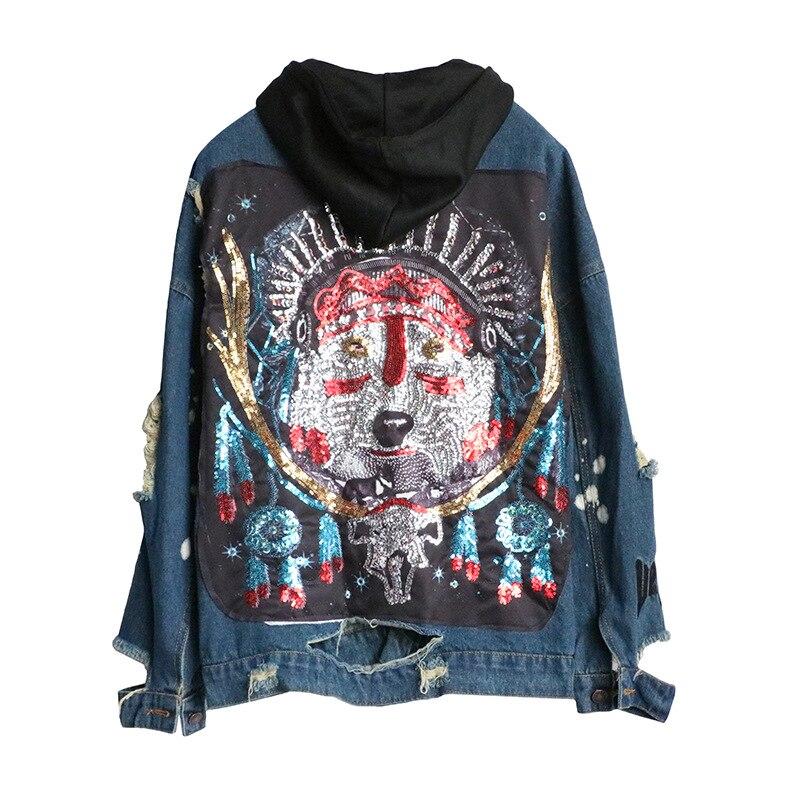 2018 autumn new tide brand back sequins wolf head hole sweater hooded denim jacket female loose street
