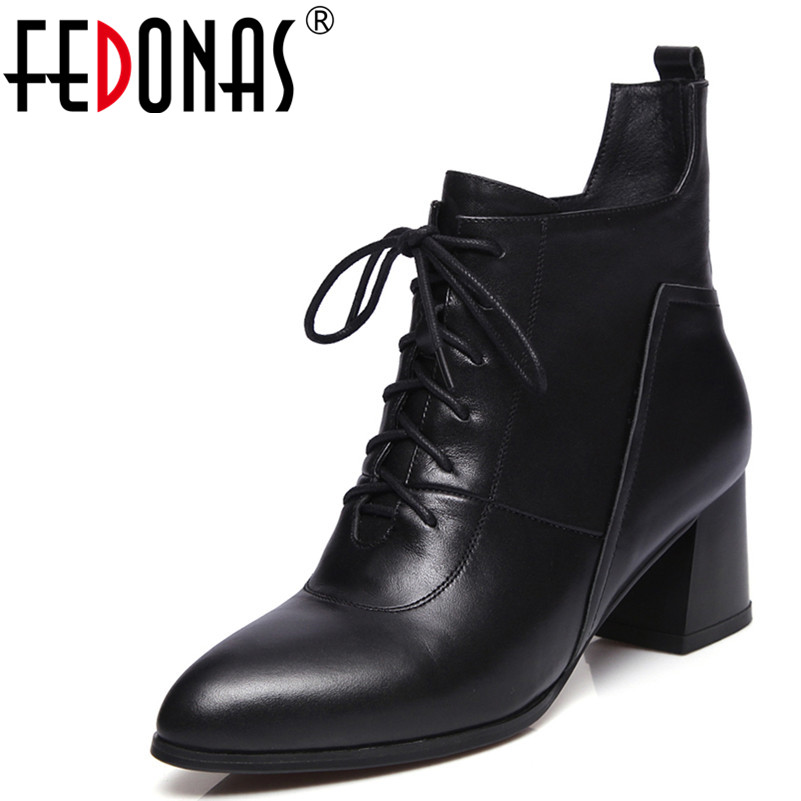 FEDONAS Thick Heel Genuine Leather Round Toe Women Martin Boots Fashion Brand High-Heeled Ankle Boots Sexy High Motorcycle Boots 2017 new women s genuine leather boots motorcycle boots rough with in tube high heeled boots thick wool really pima ding