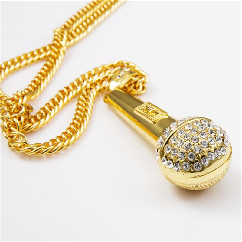 HipHop Gold Color Stainless Steel Cuba Chain Ice Out Bling DJ MIC Music Stereoscopic Microphone Pendant Necklace for Men Jewelry