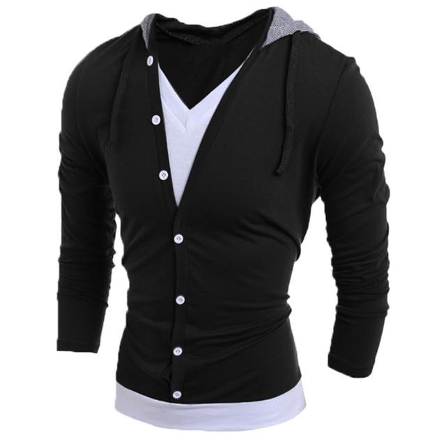 511a23637168ba Cosy Fashion Men Slim Long Sleeve Tee Shirts Hoodie Hooded Casual V Neck T- Shirt Black Gray Tops YZ