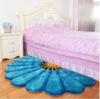 80X150 см утолщенные секторные ковры для спальни, современные 3D коврики с изображением цветов и ковров, диван-пол, детский игровой коврик, половик с цветочным рисунком - Цвет: Синий
