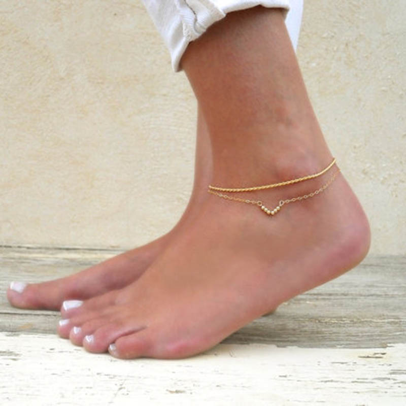 2016 Best Selling Sexy Women Beads Chain Girl Anklet Foot Jewelry Fashion Beach Sandal Lady Anklets K259