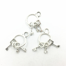 Pendants For Bracelets Keys Ancient Silver Tone Metal Fashion Craft Jewelry DIY Charms Findings 26mm 10Pcs недорого