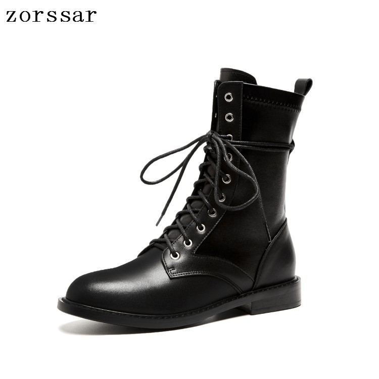 {Zorssar} winter Female shoes High boots Genuine Leather flat lace up Mid Calf Motorcycle Boots fashion Military boots Women недорго, оригинальная цена