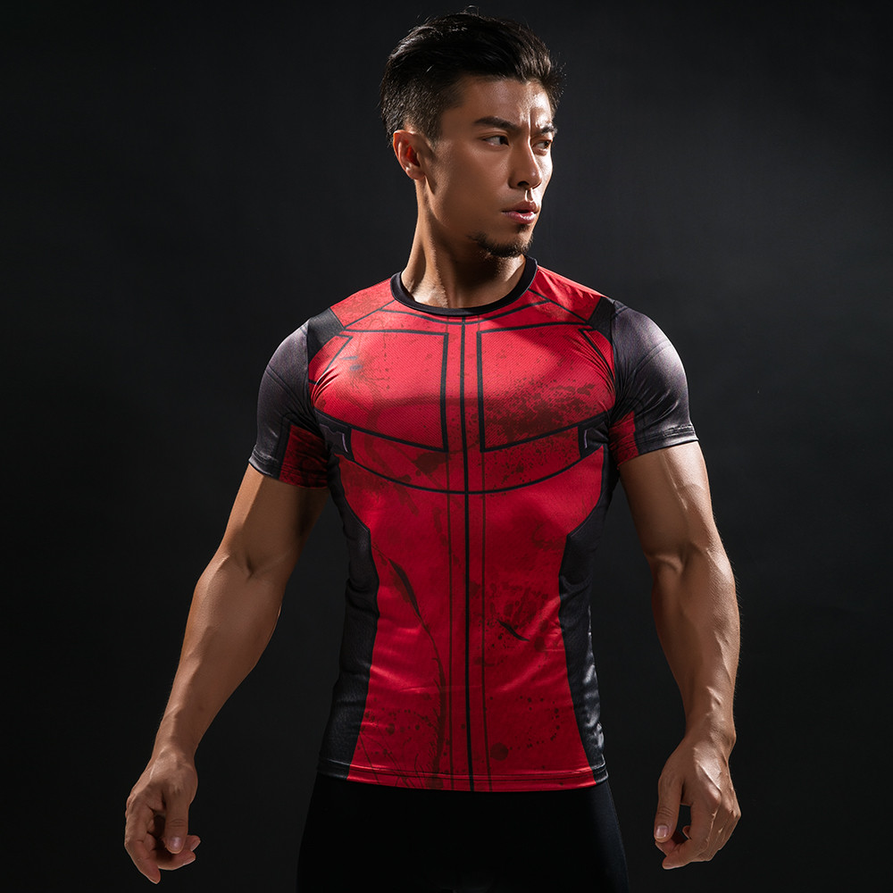 3D Printed T-shirts Men Fun Deadpool  Cosplay Costume Short Sleeve Compression Shirt Male Tops Halloween Costumes For Men